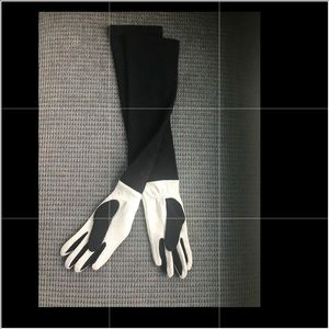 Accessories - Black white colorblock long over elbow wool gloves
